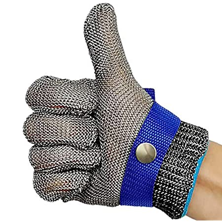Grade Level 5 Protection,Comfortable Safety Kitchen Cut Gloves for Multiple Uses L Cut Resistant Stainless Steel Gloves