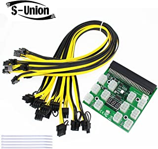 S-Union Ethereum ETH ZEC Mining Power Supply 12V GPU/PSU Breakout Board + 12pcs 16AWG PCI-E 6Pin to 6+2Pin Cables 27.5Inch Length(70CM, with 5 Nylon Cable Ties)