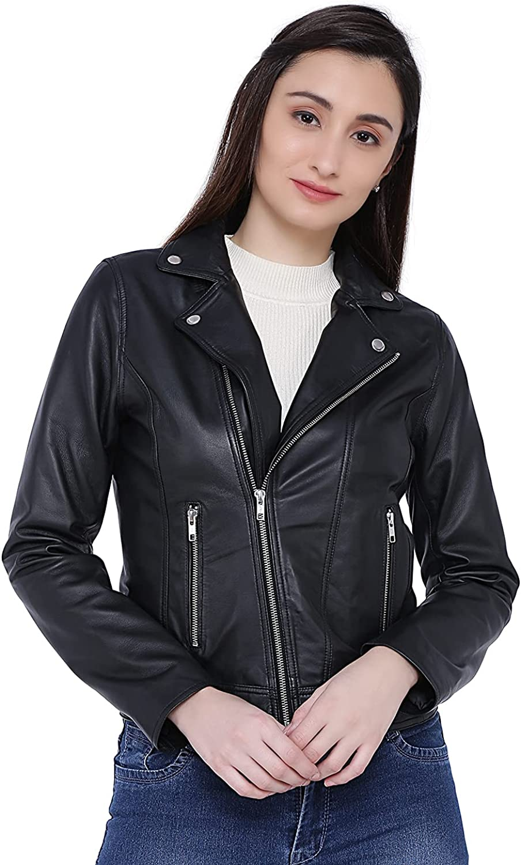 Tan & Brun Jasper faux leather biker jacket for women in classic Black/Chocolate brown
