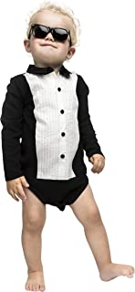 The Tiny Universe Boy Bodysuit with Tuxedo Pattern, for Tiny Gentlemen, at Parties and Special Occasions