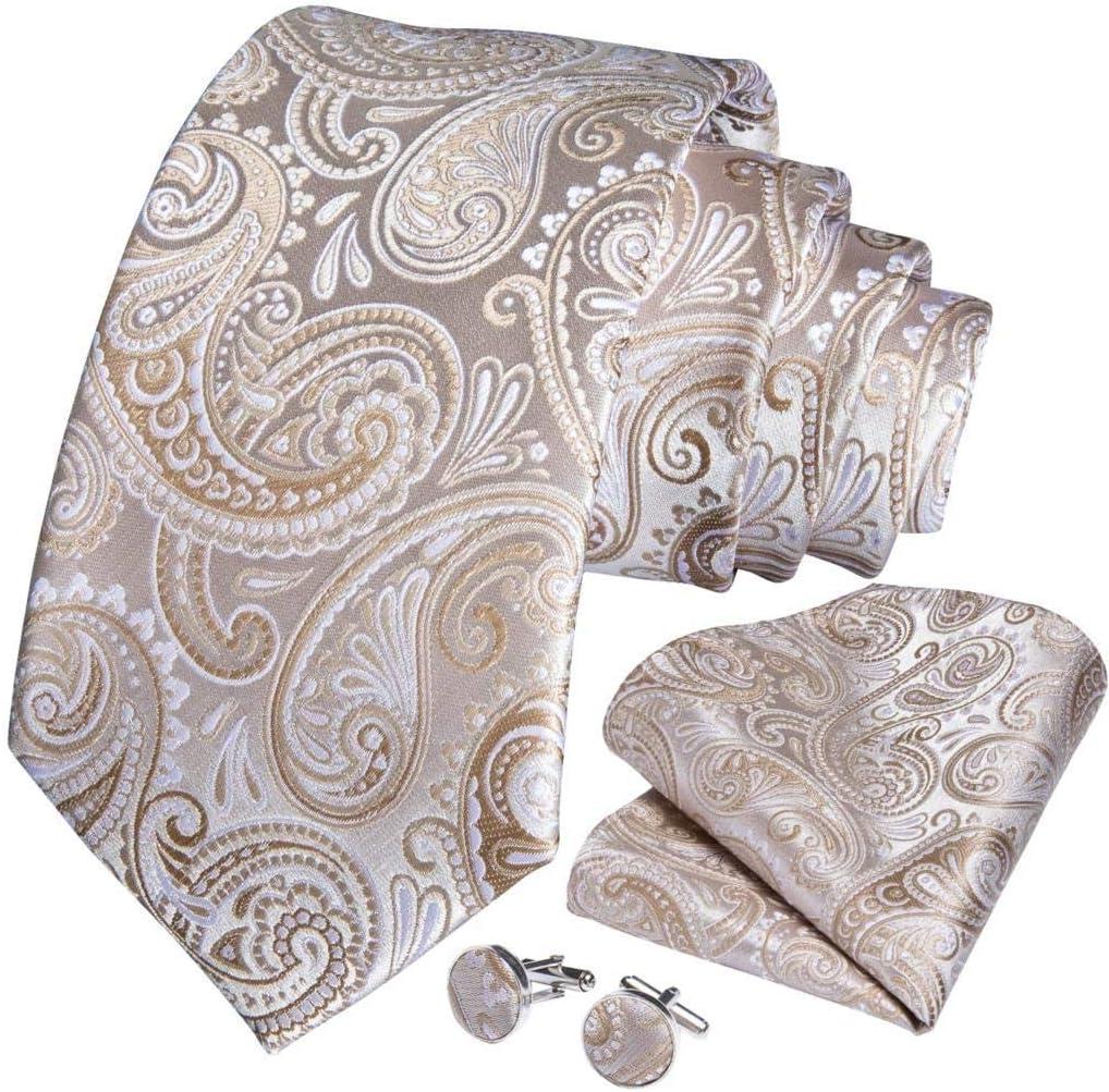 JIEIIFAFH Wedding Men Tie Gold White Fashion Tie Compatible with Men Business Dropshipping Designer Hanky Cufflink Tie Set