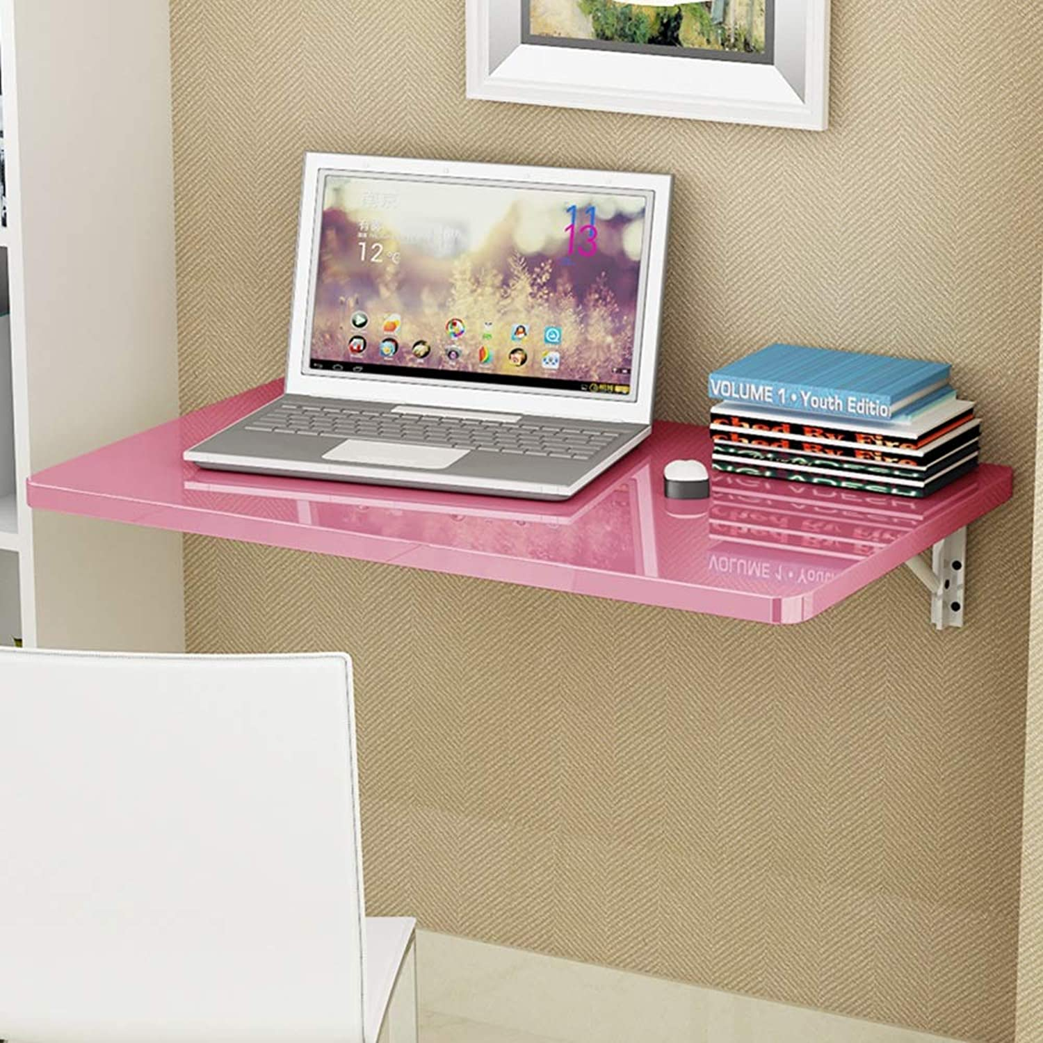 Coffee Table Wall Folding Table Wall-Mounted Drop-Leaf Table, Foldable Kitchen Laundry Room, Piano Paint, 4 colors, Multiple Sizes (color   Pink, Size   60  50 cm)