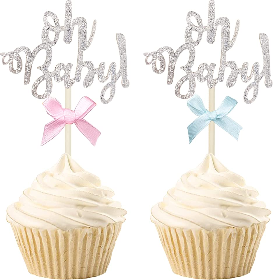 30 PCS Silver Glitter Gender Reveal Cupcake Topper Baby Cupcake Topper Oh Baby Cake Toppers Picks with Pink Blue Bow for Baby Shower Birthday Party Decoration Supplies
