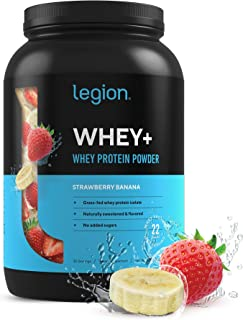 Legion Whey+ Strawberry Banana Whey Isolate Protein Powder from Grass Fed Cows - Low Carb, Low Calorie, Non...