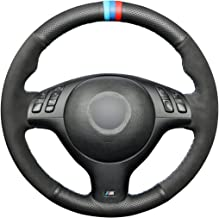 MEWANT Customized Genuine Leather Car Steering Wheel Cover for BMW E46 E39 (top and Bottom Black Perforated Leather + Both Side Black Suede + Light Blue Blue red Marker + red Blue Thread)