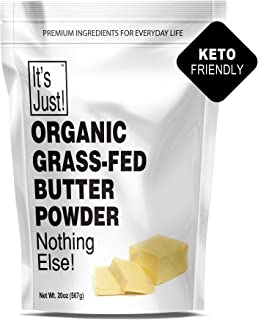 It's Just - Organic Butter Powder, Real Butter, Grass-Fed, Non-GMO, Made In USA, Keto Friendly, Shelf Stable (20oz)