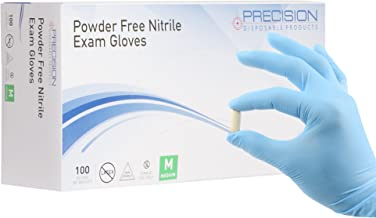 Precision Disposables Blue Nitrile Exam Gloves Size Medium 4 mil Thickness Powder-Free Non-Latex Fingertip-Textured Medical Grade Food Safe Examination Gloves (Pack of 200)