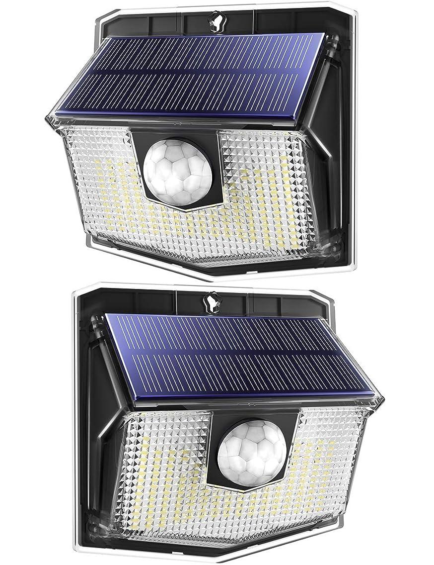 外出グロー人工センサーライト 屋外 ソーラーライト 140LED 270度照明範囲 IPX7防水 3つ照明モード 人感センサー 防犯ライト 夜間自動点灯 太陽光発電 玄関 庭 駐車場 18ヶ月間保証 2個