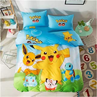 Featuring Pikachu Bedding Sheet Set Single Queen Twin Full Size 【Free Express Shipping】 【100% Cotton】 Bulbasaur Squirtle Celfairy Eevee 3 and 4 Pieces Bed Sheets (Queen Size)