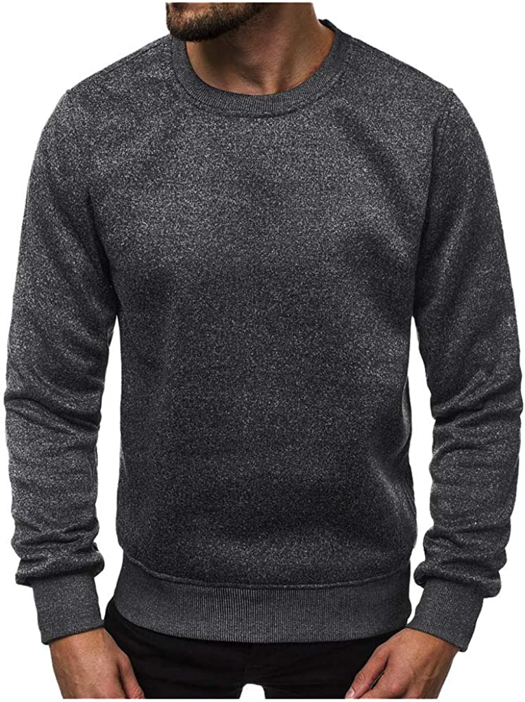 FORUU Men's Sweatshirts Crewneck Long Sleeve Fashion Handsome Midweight Letter Printed Sweatshirt Pullover Tops