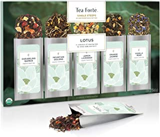 Tea Forte Lotus Relaxing Tea Sampler, Single Steeps Organic Loose Leaf Tea Gift Box Variety Pack of 15 Single Serve Pouches with Black Tea, Green Tea, Oolong Tea, White Tea and Herbal Tea