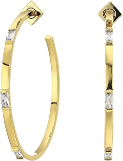 60mm Stone Hoop Earrings