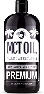 Premium MCT Oil – (8 Ounce) with C8 and C10 Brain Fuel - Derived Only from Coconuts - Keto & Paleo Diet Weight Loss Approved - Perfect Adding to Coffee, Salad Dressing, Tea, Shakes, Drink, and More!