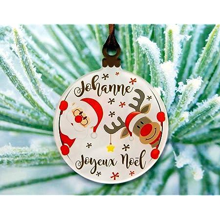 Gravure Events Décoration de Sapin personnalisée avec Votre prénom (Un Joli Cadeau, Une Alternative à la Boule de Noël Traditionnelle en Verre ou Bois, Personnalisation avec Le prénom de Votre Choix)
