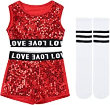 Yeahdor Kids Boy Girl's Shiny Sequins Jazz Dance Outfits Stage Performance Costumes Dancewear Crop Top with Shorts & Sock Set