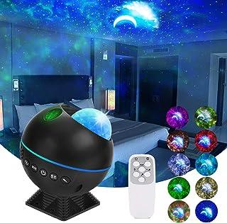 Proyector de Luz Estelar, FOCHEA Lámpara Proyector Estrellas Sonido Activado con Altavoz Bluetooth Temporizador y Mando para Coche, Habitación, Sala
