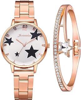 Yue668 Montre à Quartz Diamant d'eau Cinq Branches étoile Acier Inoxydable Bande Cadran, Montre Bracelet Femme Incrusté De...