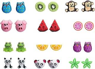 12 Style Resin Cute Animals Fruit Stud Earrings Set For Kids Girls Hypoallergenic Nickel-free