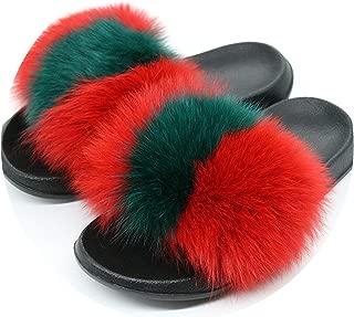 Fox Fur Slippers Fox Hair Slides Indoor Casual Beach Sandals Plush Shoes