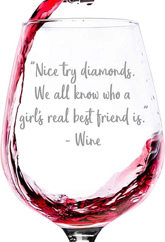 Nice Try Diamonds Funny Wine Glass Best Mother S Day Gag Gifts For Her Unique Gift For Mom Women Cool Birthday Present Idea From Husband Son Daughter Fun Novelty Gift For Wife Or Friend