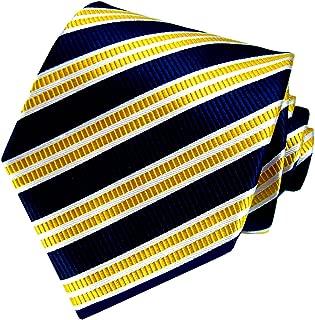 Lorenzo Cana - Marken Krawatte aus 100% Seide mit gelb weiß blaue Streifen Design - 84007