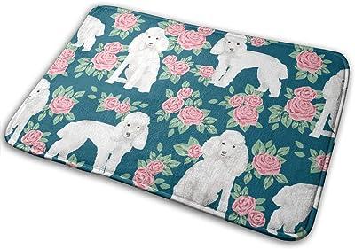 """Toy Poodle Rose Florals Pattern Dog Breed 3_23533 Doormat Entrance Mat Floor Mat Rug Indoor/Outdoor/Front Door/Bathroom Mats Rubber Non Slip 23.6"""" X 15.8"""""""