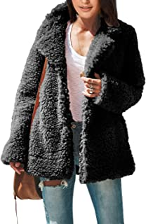Women's Fleece Fuzzy Open Front Button Winter Coat with Pockets Outwear Jackets