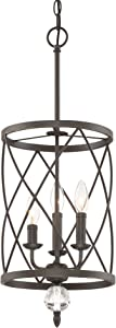 """Kira Home Eleanor 13"""" 3-Light Traditional Foyer Light Pendant Chandelier, Cylinder Metal Shade, Adjustable Height, Oil-Rubbed Bronze Finish"""