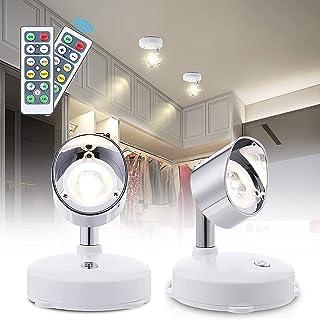 Lampe de Placard LED, 2 Pack Lampe Murale Interieur Orientable Blanc Chaud 4000K Veilleuse LED avec Télécommande Spot sans...