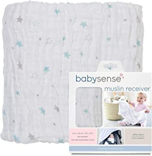 Baby Sense Muslin Receiver Blanket Soft Comfort, Breathable Premium Soft Cotton (Blue)