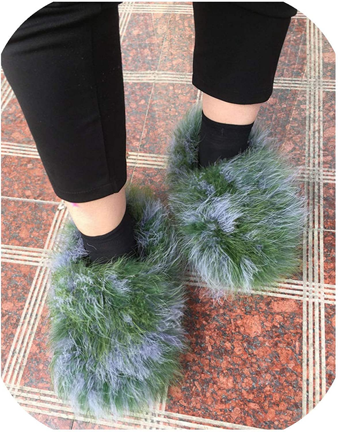 shoes Women Winter Warm Plush Flat Slippers Ladies Sweet Candy color Home,