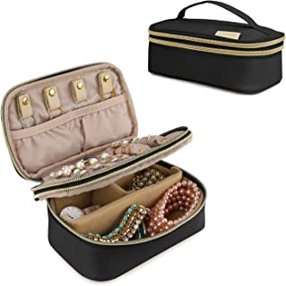 BAGSMART Small Travel Jewelry Organizer Box Double-Layer Jewelry Bag for Rings, Bracelets, Earrings, Necklaces, Black