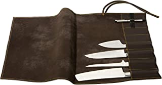 Exclusivo Estuche para Cuchillos de Chef, de Cuero auténtico, para 7 Cuchillos, Equipamiento y Accesorios de Chef Braun - Orange Naht