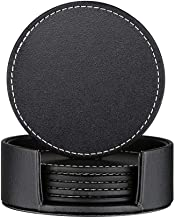 Thipoten Set of 6 Leather Coasters, Protect Furniture from Water Marks Scratch and Damage, SanPlus Simple and Classy Coasters for Drinks (black)