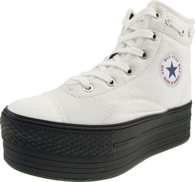Maxstar Round Lace Dark Platform High-top Zipper Canvas Sneakers Black