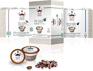 GLORYBREW variety pack 36 count 100 percent compostable coffee pods for Keurig K Cup machines | Rainforest Alliance certified | medium, dark and extra dark roast | better than Biodegradable coffee pods