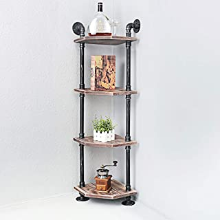 Womio Industrial Pipe Shelves,4-Tier Rustic Corner Shelves with Real Wood,Corner Bookshelf Display Stand,Metal Standing Bookcase Home Decor Shelf Units