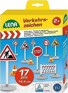 Lena 04440 Trafikskyltar Set för Barn, Flerfärgad, 17 Delar