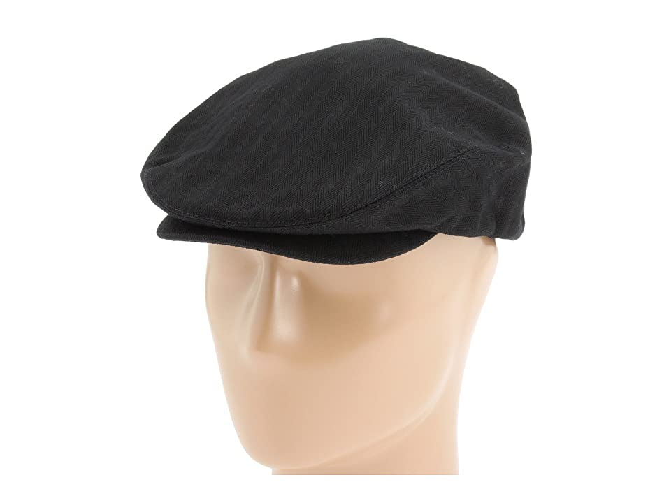New Edwardian Style Men's Hats 1900-1920 Brixton Hooligan Black Herringbone Twill Traditional Hats $35.00 AT vintagedancer.com