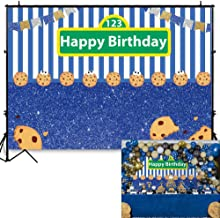 Allenjoy Cookies Blue White Stripes Backdrop Kids Happy First 1st Birthday Party Decor Gold Silver Flags Carnival Festa Cake Table Banner 7x5ft Photography Background Photo Booth Props