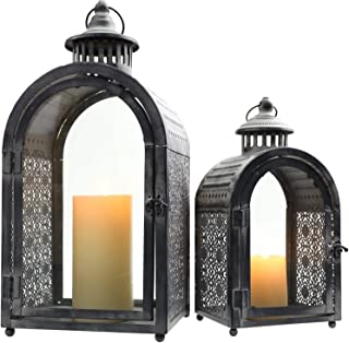 JHY Design Set of 2 Antique Grey Decorative Lanterns, Metal Candle Lanterns for Indoor Outdoor, Events, Parities and Weddings Vintage Style Hanging Lantern.