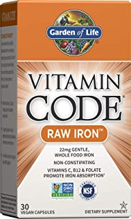 Garden of Life Vitamin Code Raw Iron Supplement - 30 Vegan Capsules, 22mg Once Daily Iron, Vitamins C, B12, Folate, Fruit,...