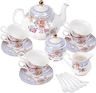fanquare Service à Thé en Porcelaine Fleurs Violettes, Ensemble de Tasse et Soucoupe à Thé, Service de Thé 6 Personnes, Th...