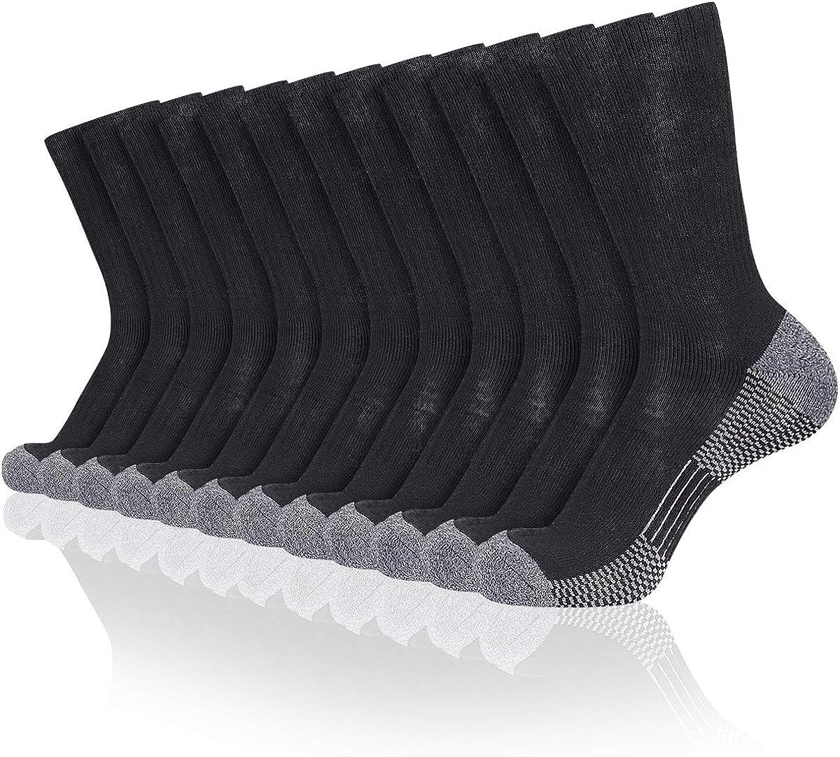COOVAN 12 Pack Crew Socks for Men Full Cushion Moisture Wicking Athletic Socks
