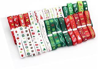 24 Yards - 10mm Christmas Grosgrain Ribbons for DIY Gift Packaging Craft Projects, Christmas Themed Red/Green/White Satin Ribbon Accessories Wedding Decor, Assorted Styles