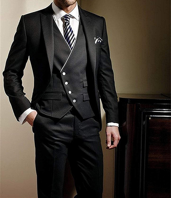 QZI Men's Suit Peak Lapel Slim Fit Three Pieces Set Wedding Tuxedo