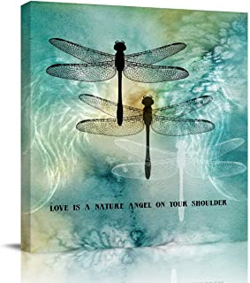 Print Picture Painting Canvas Wall Art Love is A Nature Angel On Your Shoulder Ink Dtyle Dragonfly Painting 8x8in Giclee Print for Office Bedroom Bathroom and Stretched Ready to Hang