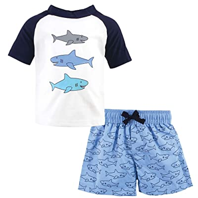 Hudson Baby Hudson Baby Unisex Baby Swim Rashguard Set, Sharks, 18-24 Months