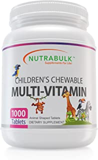 NutraBulk Children's Chewable Multi-Vitamin Tablets for Kids to Support Immune, Bone, and Brain, Contains All Natural Vitamins, Minerals, B Complex. Cherry Flavor (1000 Count)