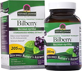 Nature's Answer Bilberry Standardized Capsules 90 Count   Eye & Vision Support   Promotes Circulation